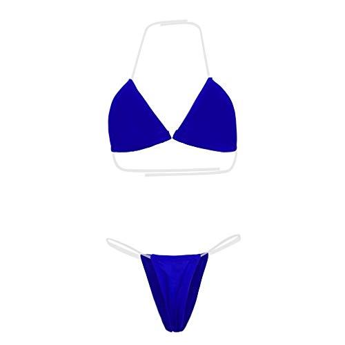 Bikinis Brasileños Mujer 2 Pc Lenceria Sexy Picardias Simple y Clásico Elegante Ropa Interior Tumblr Micro Tanga C-String Fiesta En La Piscina Moda Casual(Azul,M)