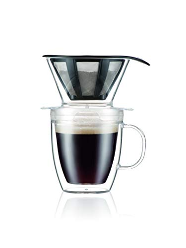 Bodum Pour Over Kaffee-Tropfer Set mit doppelwandiger Tasse und Dauerfilter, 340 ml, transparent