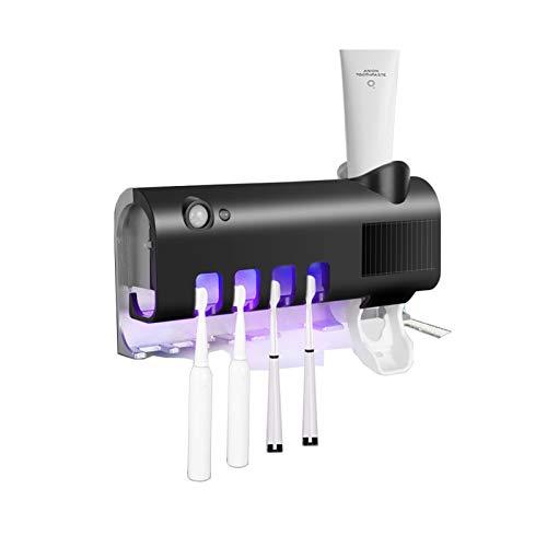 Sterilizzatore Portaspazzolino UV, Cting Sterilizzatore per Spazzolino Dispenser di Dentifricio a Parete Ricaricabile a Energia Solare con Funzione di Sterilizzatore Organizzatore di Spazzolino Denti