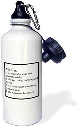 """GFGKKGJFD624 Botella de agua deportiva de aluminio con texto en inglés """"Definición de mamá"""", divertida para hombres, mujeres, niños, regalos de Navidad Bithtday"""