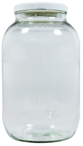mikken - XL Einmachglas 3400ml mit Schraubverschluss Weiss, Vorratsglas Glasdose inkl. Beschriftungsetikett, Weiß