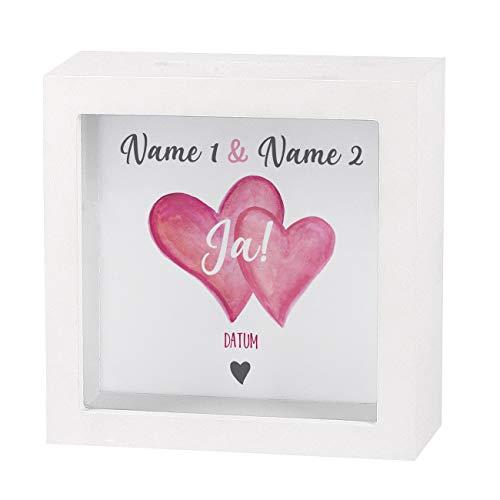 Herz & Heim® Geldgeschenk zur Hochzeit als Bedruckte Bilderrahmen Spardose - individuell für Sie erstellt mit Namen und Datum Ja!