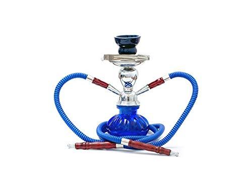 Cachimba Oasis Mini 25 cm con 2 tubos con extremos de madera, brasero de cerámica y pinzas (azul)