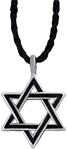 Zaaqio Colgante Amuleto Estrella de David para Hombre con Collar de 24 rubíes Negros