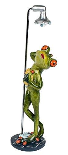 Dekofigur lustiger Frosch unter der Dusche, 23 cm