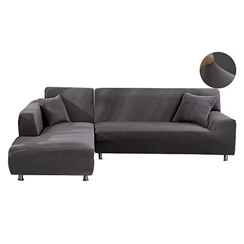 JIAN YA NA - Funda de sofá, extensible, de poliéster, para sofá de ángulo + 2 fundas de almohada, tela, gris, 3 Place + 4 Place