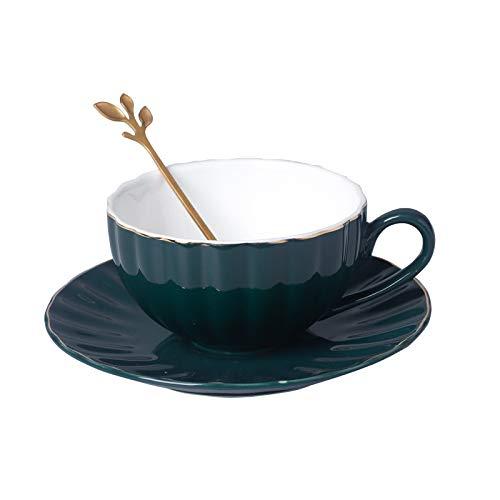 JIUJ Tassen Tassen mit Unterteller Basic für Tee Kaffee Cappuccino für 1 Personen Keramik Kaffeelöffel Tasse Untertasse europäischen Teeservice Phnom Penh einfach grün blau Dunkelgrün