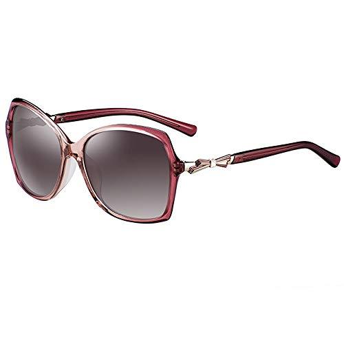 Gafas de sol polarizadas HD para mujer, marco tridimensional, diseño de lazo, color marrón