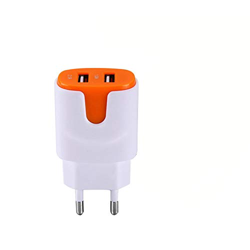 Adaptador de Corriente de Color USB para Samsung Galaxy A20E Smartphone Tableta Doble Toma de Pared 2 Puertos Corriente AC Cargador (Naranja)