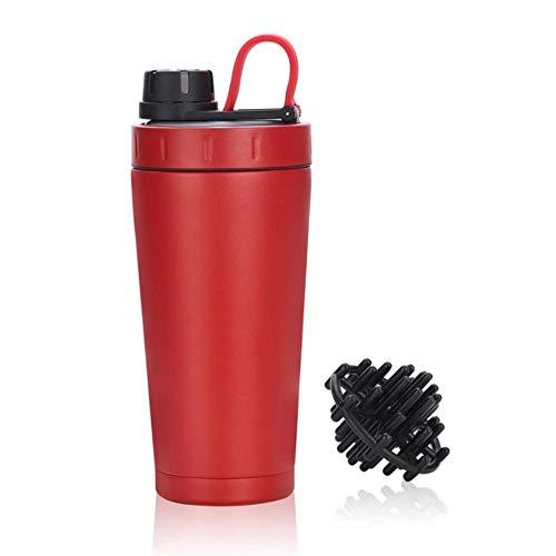 Protein Shaker beker roestvrijstalen waterfles Gym Training drankpoeder melkmenger reizen Draagbare waterflessen 500ml nieuw, rood, 500ml