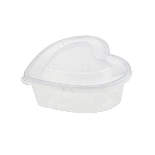 LJY 16 Pieces 5.1 oz Heart Shaped Slime Foam Ball Storage Containers Large Capacity Plastic Box with Lids