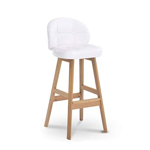 CYLQ Barkruk van hout met rugleuning voor keukeneiland, tellerhoogte, modern PU-leer, linnenstoel, bar stoelen voor het ontharken van de keuken, eetkamerstoelen, hoge barkruk, 4 kleuren, 65 cm / 75 cm