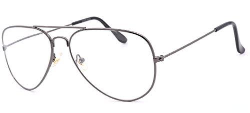 NEWVISION - Gafas de lectura, gafas de vista para presbicia, montura de metal, estilo retro aviador, ref. NV8132 +1.50 titanio