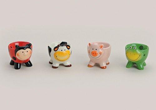 Eierbecher Keramik in Tieroptik Kuh, Schwein, Marienkäfer oder Frosch