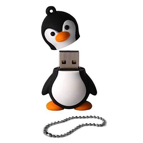 Ogquaton - Memoria Flash USB 2.0 de 16 GB, diseño de pingüino, Color Blanco y Negro