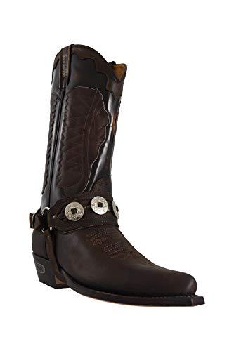 Loblan 780 MT Herren Stiefel, Wachsstoff, handgefertigt, kubanischer Absatz, Kalb, Western-Stil, Cowboy-Einschlag, Goodyear, Shiney Black Waxy - Größe: 45 1/3 EU