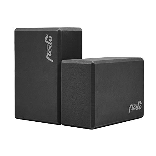 "Fledo Yoga Blocks 2 Pack 9""x6""x4"" - EVA Foam Brick, Featherweight and Comfy - Provides Stability and Balance - Ideal for Exercise, Pilates, Workout, Fitness & Gym (Black)"