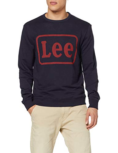 Lee Logo Crew SWS Felpa, Blu (Night Sky Sj), Medium Uomo