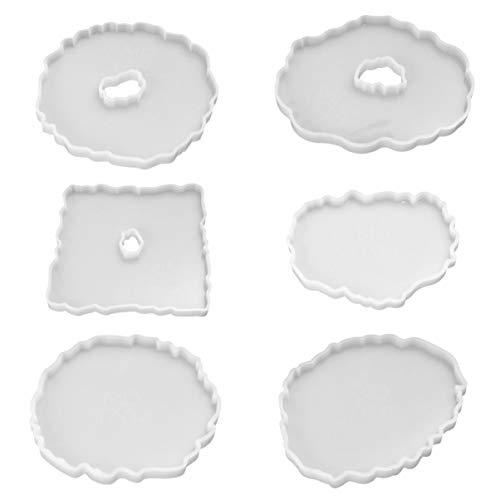 EXCEART Moldes de Resina de Montaña Rusa de Silicona de 6 Piezas con Moldes de Resina Epoxi de Borde Irregular para Hacer Posavasos de Láminas de Ágata de Imitación de Gemas Tazas Esteras