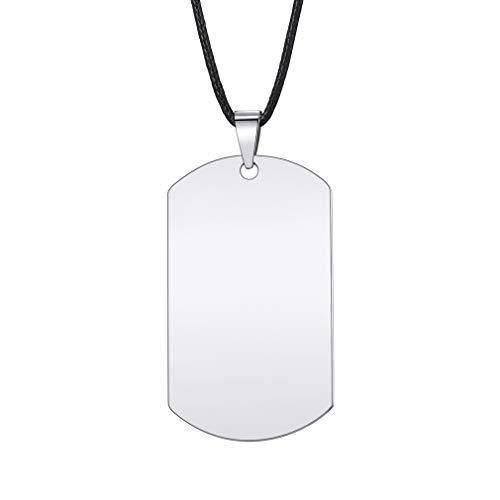 Custom4U Personalizada Placa de Identidad para Hombres Ejércitos Chapa Militar Acero Inoxidable 316L Collar ID con Informaciones Grabados y Foto Personalizada Colgante Rectangular Etiqueta Perro