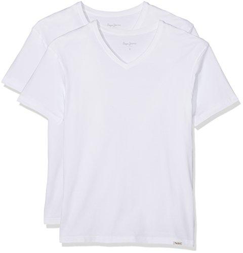 Pepe Jeans Aiden 2PK PM503655 Camiseta, Blanco (White 800), X-Large para Hombre