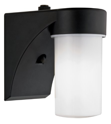 Lithonia Lighting OSC 13F 120 P LP BL M6 Outdoor Cylinder Wall Light with Dusk to Dawn Photocell, Black
