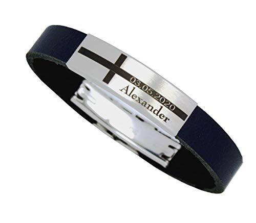 Tinasfunshop Armband Jungen Konfirmation Kommunion echt Leder personalisierbar mit Ihrer Wunsch...