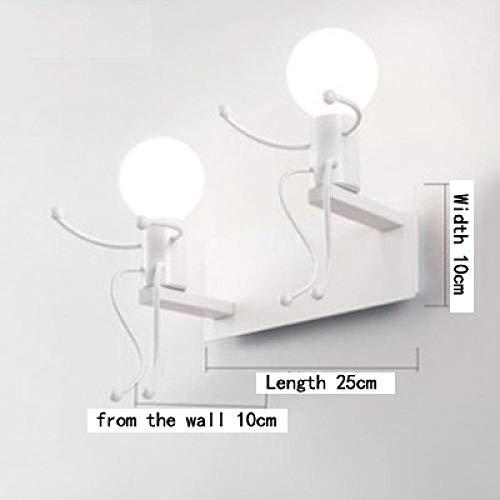 Muurspot wandlamp ijzer kleine man kleine wandlampen voor thuis leuke matchstick mannen kinderkamer wandlampen robot duiken skateboard styling sconce-double_G80_bulb_warm_white
