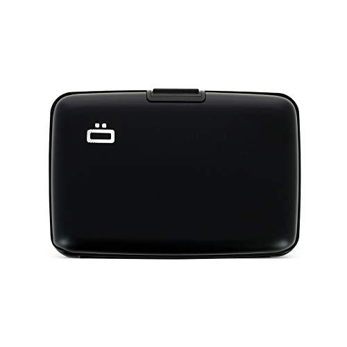 Ögon Smart Wallets - Stockholm Cartera Tarjetero - Protección RFID: Protege Tus Tarjetas de Robar - hasta 10 Tarjetas + Recetas + Notas - Aluminio anodizado (Negro)