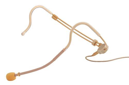 JTS CM-214F Elektret-Kopfbügelmikrofon, verstellbares Bühnen-Mikrofon mit zwei Ohr-Haken, unauffälliges Headset inklusive Tasche und Windschutz, in Beige
