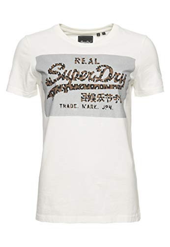 Superdry Damen Vintage Logo Reflective Box T-Shirt Ecru 42