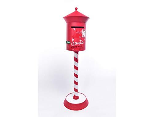 CLICSON® -ME41371- Cassetta Postale di Babbo Natale in Metallo Rosso/Bianco H122x35x35cm