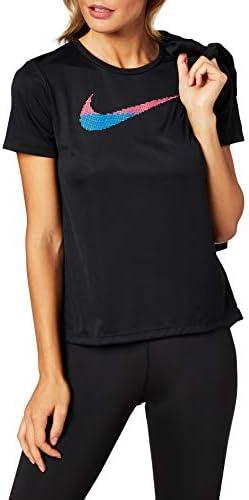 Nike Camiseta de Gimnasio Negro Tejido Técnico para Mujer