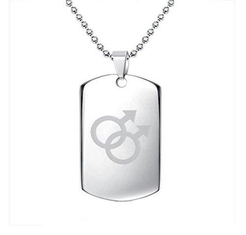 gudeke Jewelry Male Symbol Gay Pride Dog Tag Anhänger Halskette aus