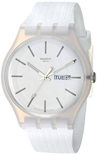 Swatch Unisex Erwachsene Analog Quarz Uhr mit Silikon Armband SUOW710