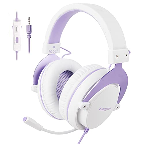 Stereo Gaming Headset for PS4, PC, Mobile, Noise Cancelling Over Ear Headphones with Retractable and Flexible Mic & Soft Memory Earmuffs for Laptop Games-Purple