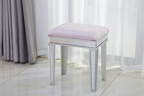 Dipamkar® Schminktisch-Hocker, gepolstert, Samt, verspiegelt, 40,5 cm, Pink