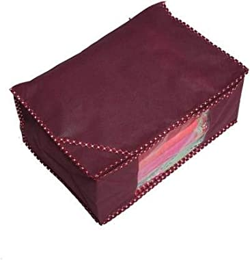 Click@me Saree Cover Mehroom Solid Front Transparent Non-Woven Saree Cover Pack of 2 03MSC002 (Maroon)