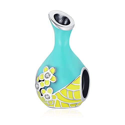 NewL Verde menta botella de vino diy accesorios de cuentas estilo chino patrón botella s925 plata rebordeada
