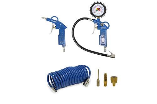 HYUNDAI Kompressor Zubehör SET ACZ55902 (Druckluft Zubehör SET, 6-teilig, bestehend aus Spiralschlauch, Reifenfüllmessgerät, Ausblaspistole, Adapterset)