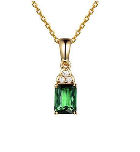 AueDsa Colgante de Mujer Verde Collar Oro Amarillo 18K Mujer Rectángulo Turmalina Verde 1.06ct