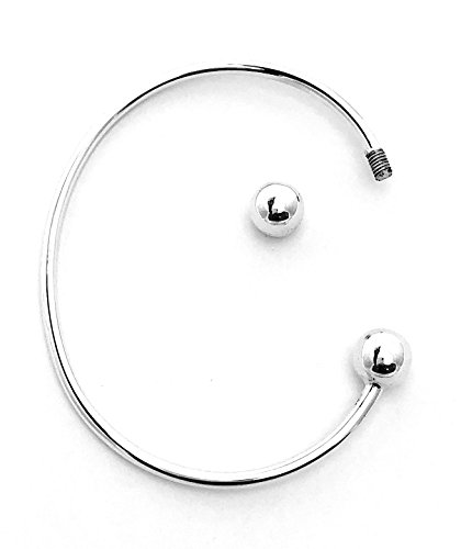 925Sterling Silber Schraube Ende Charm Drehmoment Armreif Armband Umfang 20cm, 2,5mm dick