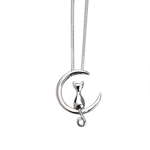 Emorias 1 Stück Halskette aus Legierung, Katze, Mond, Mädchen, Kette, Paar, Anhänger für Damen, Modeschmuck – Silber