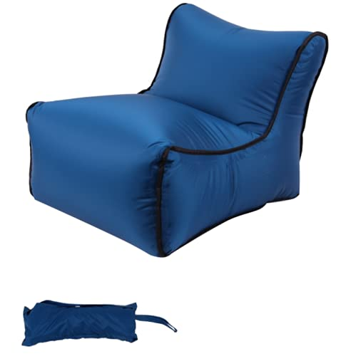 Inflatable Lounger Air Chair, Portable Folding Stool Camping Stool for Adult & Kids Compressible Outdoor Beach Chair with Carry Bag, Collapsible Stool for Camping Fishing Travel Hunting (Dark Blue)