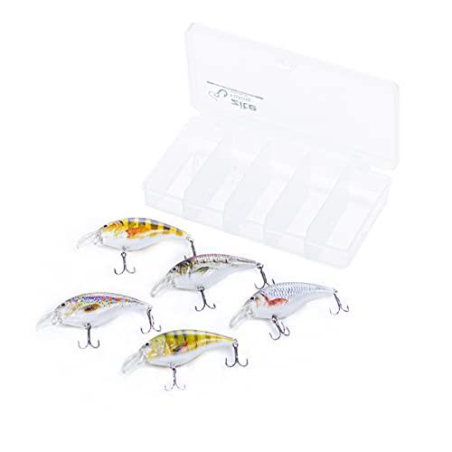 Zite Fishing Crankbait Wobbler-Set - 3D Natur-Design Barsch Hecht & Zander Angeln - 8,9cm Angelköder 5 STK in Box