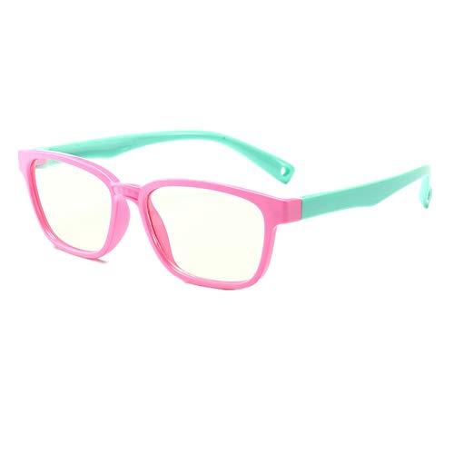 Shiratori KIDS Childrens Anti-Blu-ray Glasses Nerd Retro Silicone Clear Lens Eye Glasses soft frame Rosa