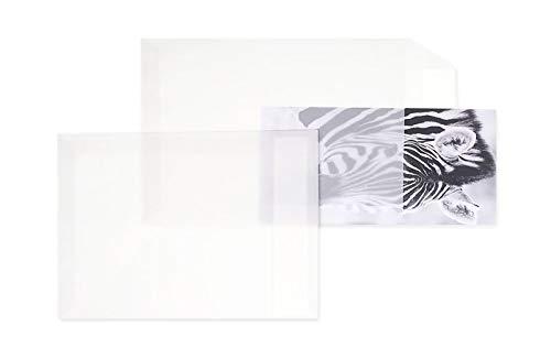 50 Stück, Transparent-Versandtaschen, 229 x 324 mm (DIN C4), Haftklebung mit Abziehstreifen, Gerade Klappe, 100 g/qm Offset, Ohne Fenster, Weiß (Transparent-Weiß), Blanke Briefhüllen