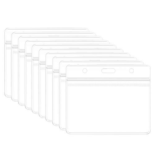 FSDELIV 10 Packungen Transparente Kartenhalter Protector-Ärmel, Kartendokument Foto-Gutschein für Personalabzeichen Abzeichen und studentische Hän-Ausschnitt-Abzeichen