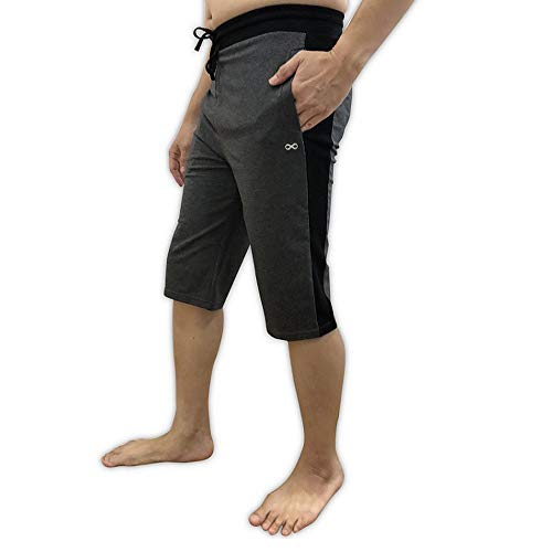 YogaAddict - Pantaloncini da yoga da uomo, comodi, per qualsiasi tipo di yoga, pilates, attività all'aria aperta, palestra, fitness, allenamento, Uomo, Grigio (lato nero)., Small