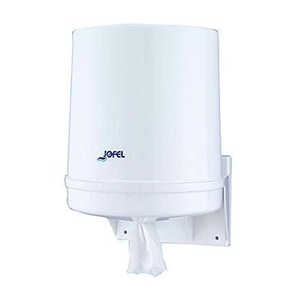 Jofel AG20020 - Dispensador de papel bobina mecha en continuo, bobinas 205 mm diámetro, color blanco